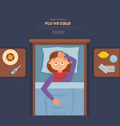 Sick girl in bed with the symptoms of cold flu vector