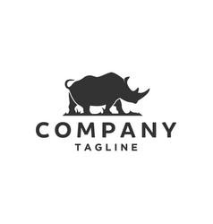 Silhouette rhino logo designs vector
