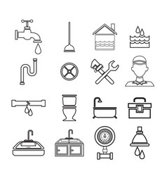 Sketch contour set icons plumbing vector