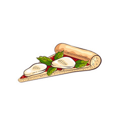 Slice tasty pizza with mozzarella cheese and vector
