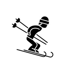 snow skiing black icon sign on isolated vector image
