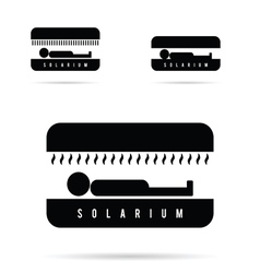 Solarium with people icon in black vector