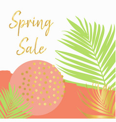 spring sale poster template peach green vector image