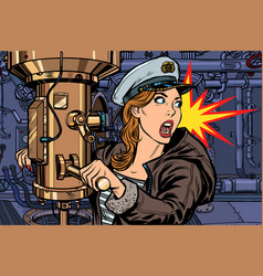 submarine a woman captain battle alert vector image