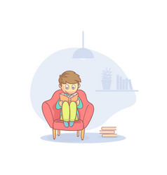 teenager boy sitting comfortably in armchair and vector image