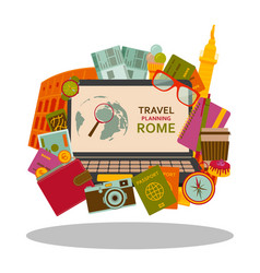 Travel planning to rome flat concept vector
