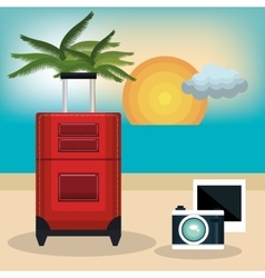 Travel suitcase vacation design vector