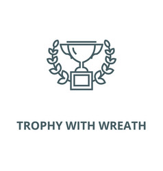 trophy with wreath line icon linear vector image