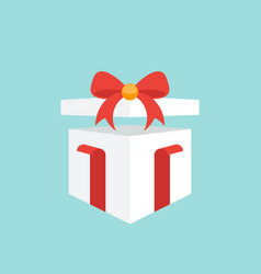 white gift box with red tied bow flat design vector image