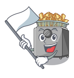 With flag deep fryer machine isolated on mascot vector