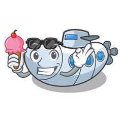 With ice cream submarine in the a cartoon shape vector