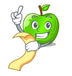 With menu perfect fresh green apple on cartoon vector