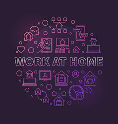 Work at home round colored outline vector