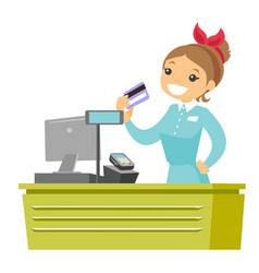 Young caucasian white cashier holding credit card vector