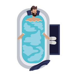Young man in bathtub avatar character vector
