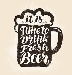 craft beer mug with foam lettering vintage vector image