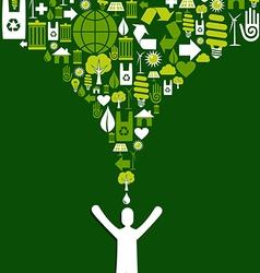 Green splash white person concept vector image vector image