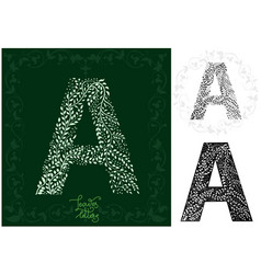 leaves alphabet letter a vector image vector image