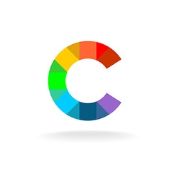 Letter C colorful rainbow logo Overlay particles vector image vector image