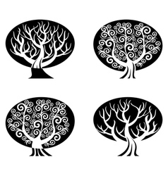 set of black and white trees vector image vector image