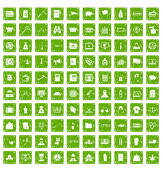 100 criminal offence icons set grunge green vector image