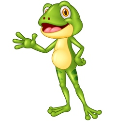 Cartoon adorable frog waving hand vector image vector image