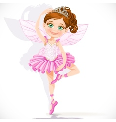 Cute little fairy girl in pink tutu and tiara vector image
