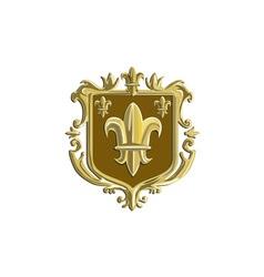 Fleur de lis Coat of Arms Gold Crest Retro vector image vector image