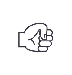 hand fist line icon sign on vector image