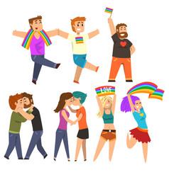 lgbt community celebrating gay pride love parade vector image vector image