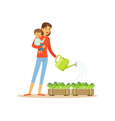 super mom character with child watering flowers vector image vector image