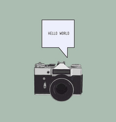 camera with bubble text sketch vector image vector image