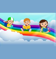 happy children reading book over the rainbow vector image