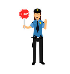 policewoman character in a blue uniform showing vector image vector image