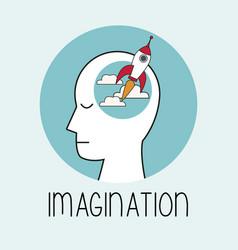 Profile human head imagination vector