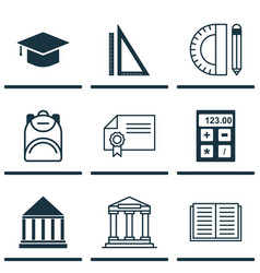set of 9 school icons includes graduation vector image vector image