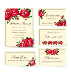 Set of wedding invitation cards with roses vector image vector image