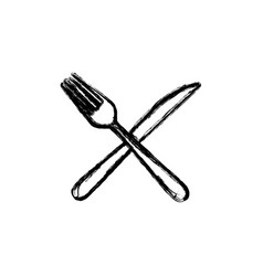 sticker white knife and fork icon vector image vector image