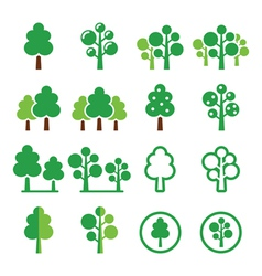 Trees forest park green icons set vector image vector image