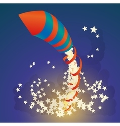 Flying firework rocket with a ribbon and stars in vector image