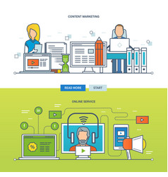 online services content management and marketing vector image vector image