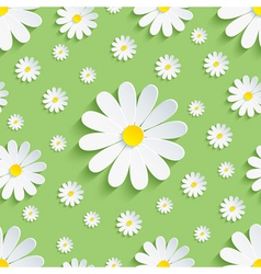 Spring nature green seamless pattern 3d chamomile vector