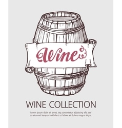 Wine or beer wood barrel vector image