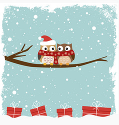 winter card with two owls vector image vector image
