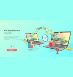 3d concept mobile money vector image