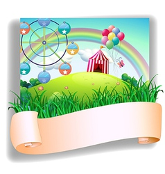 A blank template in front of a carnival vector image