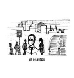 air pollution hand drawn sketch of vector image