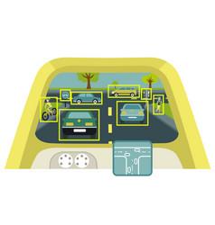 autonomous smart car interior poster vector image