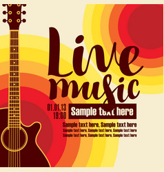 Banner for concert live music with a guitar vector