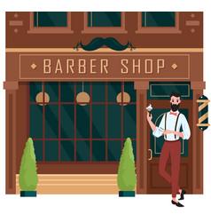 barber shop open street building brown facade vector image